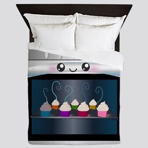 Cute Happy Oven with cupcakes Queen Duvet
