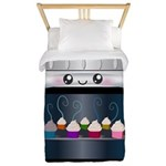 Cute Happy Oven with cupcakes Twin Duvet