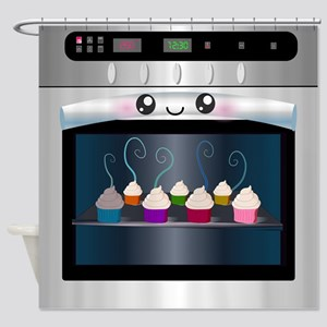 Cute Happy Oven with cupcakes Shower Curtain
