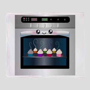Cute Happy Oven with cupcakes Throw Blanket