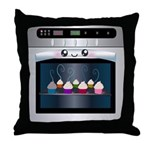Cute Happy Oven with cupcakes Throw Pillow