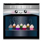 Cute Happy Oven with cupcakes Tile Coaster