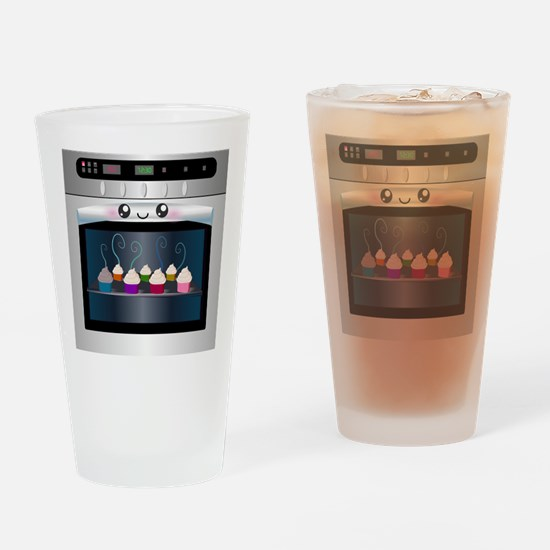 Cute Happy Oven with cupcakes Drinking Glass