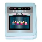 Cute Happy Oven with cupcakes baby blanket