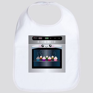Cute Happy Oven with cupcakes Bib