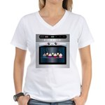 Cute Happy Oven with cupcakes Women's V-Neck T-Shi