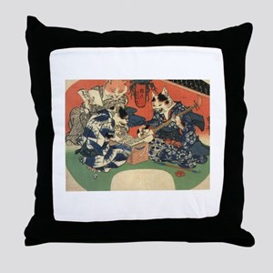 Japanese Cats Throw Pillow