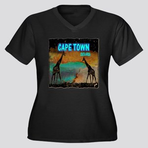 cape town africa Women's Plus Size V-Neck Dark T-S
