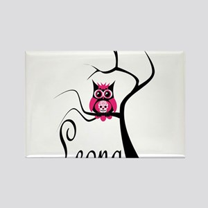 Leona Pink Sugar Skull Owl in Tree Rectangle Magne
