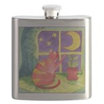 Cat and Moon Watercolor Flask
