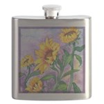 Sunny Sunflowers Watercolor Flask