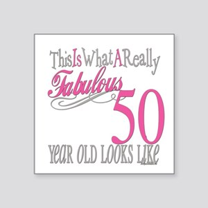 "Fabulous 50yearold Square Sticker 3"" x 3"""