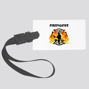 Firefighter Flames Large Luggage Tag