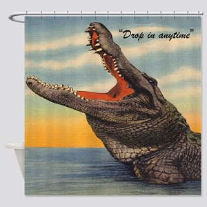 Vintage Alligator Postcard Shower Curtain