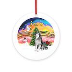 XmasMusic-AlaskanMalamute Ornament (Round)