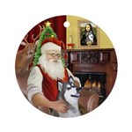 Santa's Alaskan Husky Ornament (Round)