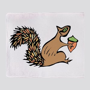 Squirrely with Acorn Throw Blanket