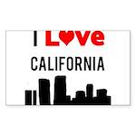 I Love California Sticker (Rectangle 10 pk)