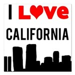 I Love California Square Car Magnet 3