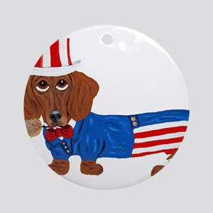 Dachshund In Uncle Sam Suit Ornament (Round)
