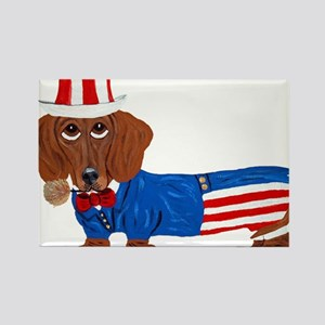 Dachshund In Uncle Sam Suit Rectangle Magnet