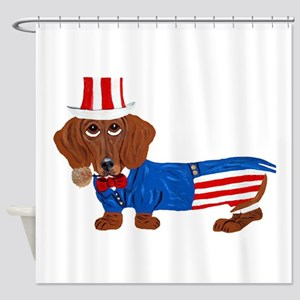 Dachshund In Uncle Sam Suit Shower Curtain