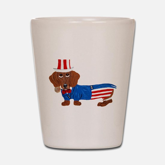 Dachshund In Uncle Sam Suit Shot Glass