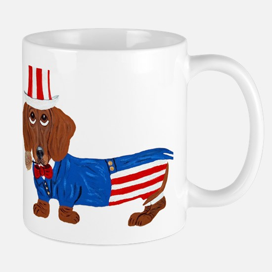 Dachshund In Uncle Sam Suit Mug