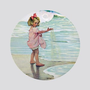 Child at the beach Ornament (Round)