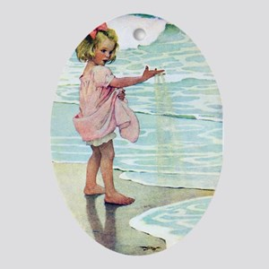 Child at the beach Ornament (Oval)