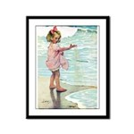 Child at the beach Framed Panel Print