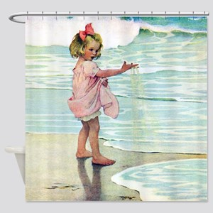 Child at the beach Shower Curtain