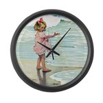 Child at the beach Large Wall Clock