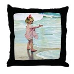 Child at the beach Throw Pillow