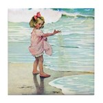 Child at the beach Tile Coaster