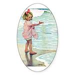 Child at the beach Sticker (Oval 50 pk)