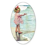 Child at the beach Sticker (Oval)