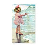 Child at the beach Sticker (Rectangle)