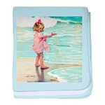 Child at the beach baby blanket
