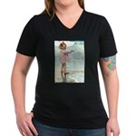 Child at the beach Women's V-Neck Dark T-Shirt