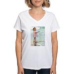 Child at the beach Women's V-Neck T-Shirt