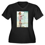 Child at the beach Women's Plus Size V-Neck Dark T
