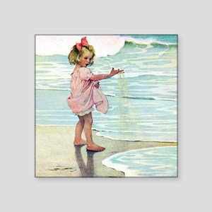 "Child at the beach Square Sticker 3"" x 3"""