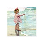 Child at the beach Square Sticker 3
