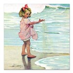 Child at the beach Square Car Magnet 3