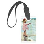 Child at the beach Large Luggage Tag
