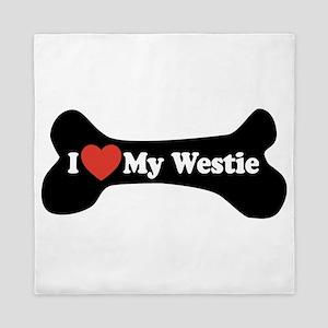 I Love My Westie - Dog Bone Queen Duvet