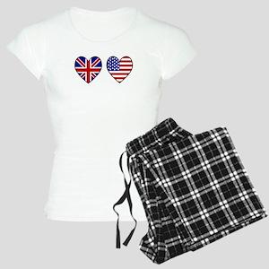 USA UK Hearts on White Women's Light Pajamas