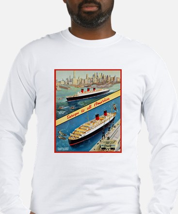 America Travel Poster 3 Long Sleeve T-Shirt