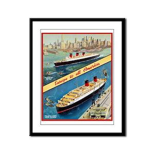 America Travel Poster 3 Framed Panel Print